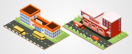 School en brandweer afdeling isometrisch. Stadsgebouwen
