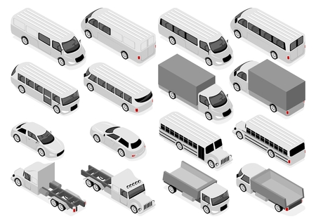 Flat 3d isometric city transport and commercial vehicle icon set. Sedan, bus and school bus, truck, ambulance
