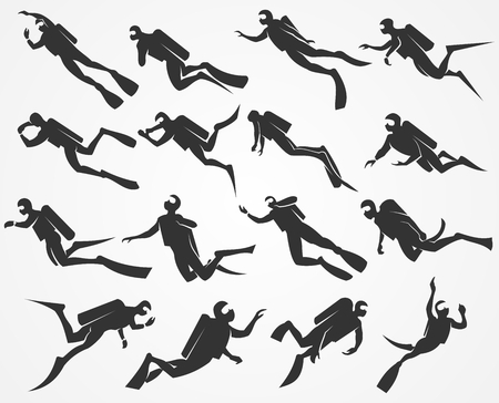 free diver: silhouettes scuba divers swimming in the sea or ocean Illustration