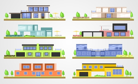 homes: modern homes. Flat building set Illustration