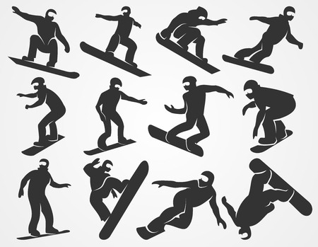 freeride: Set of silhouettes of snowboarders isolated on a light gray background