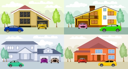 homes: Family homes. Flat design concept illustration Illustration