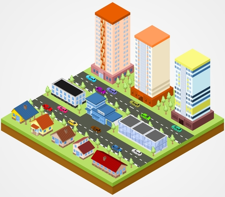 city block: Isometric city block with the police station Illustration