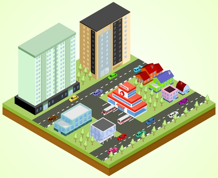 Isometric city block with the hospital building Illustration