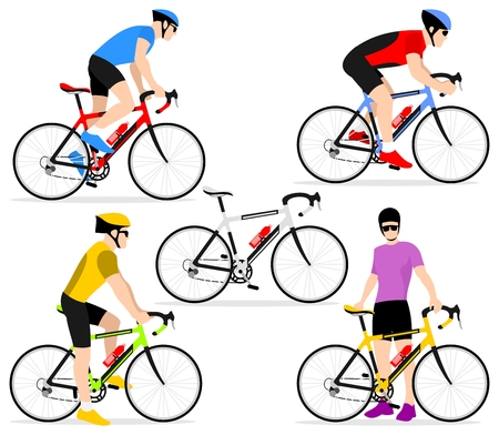 cycling helmet: A group of cyclists in the bicycle race. Set of flat icons cyclists in a flat style