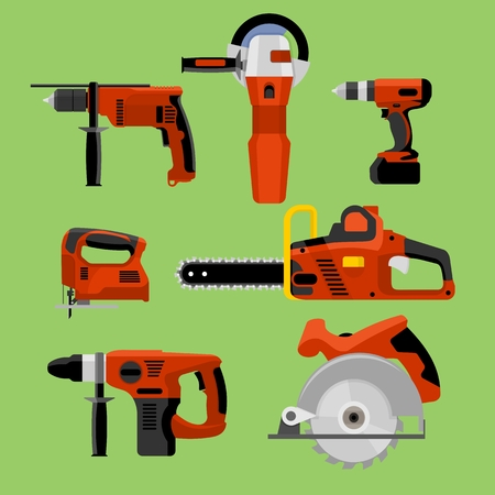 power tools: Power tools icons set: drill, hammer, screwdriver, jigsaw, electric saw, angle grinder and circular electric saw