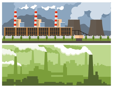 Two industrial banner - Metallurgical Plant and Power Plant