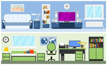 college dorm: Two modern interior