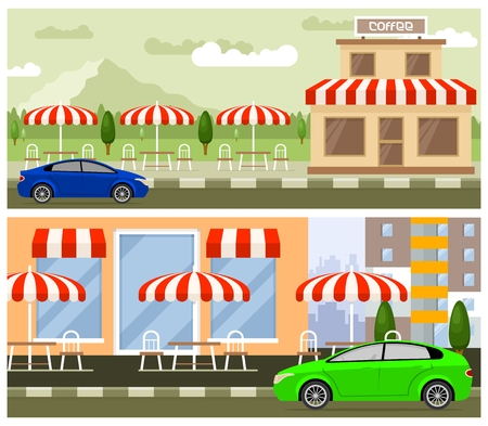 citylife: Roadside cafe flat design