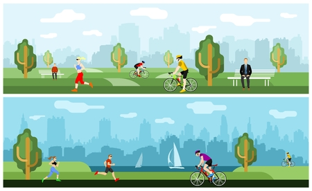 People involved in sports in the park on a background of cityscape Illustration