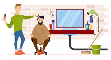 Barber at workplace vector illustration.