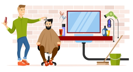 look in mirror: Barber at workplace vector illustration.
