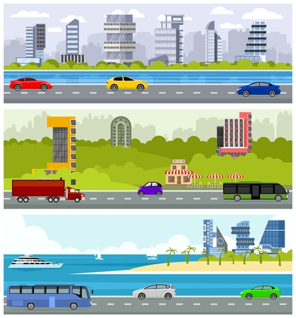 Car road over skyscrapers vector illustration. Vectores