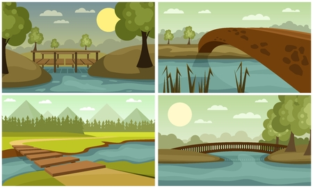 Wooden and stone bridges Illustration
