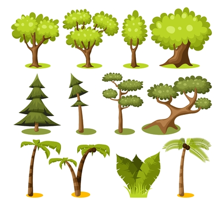 Set of cartoon trees