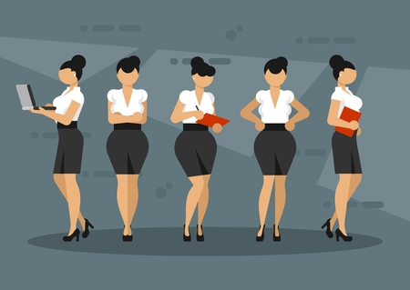 Women character in office clothes. Business ladies stand in different poses Illustration