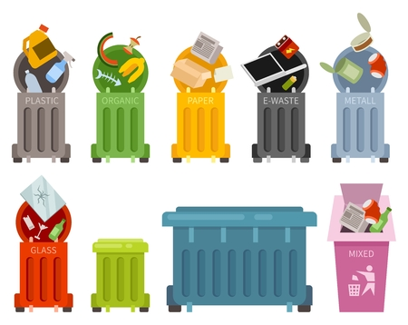 Garbage container and types of trash icons set. Waste recycling