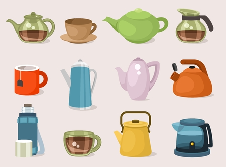 Flat icon set of teapots, tea kettles and cups