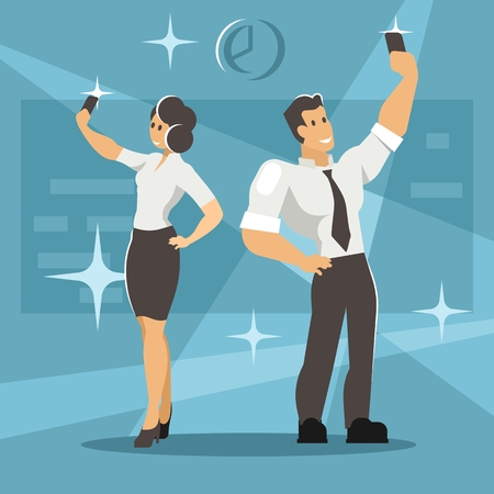Man and woman take selfie. A pair of office workers are photographed Illustration