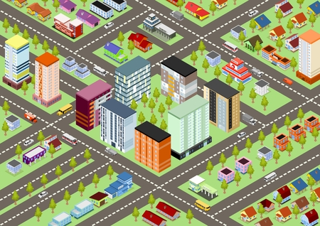 Isometric cartoon city map with buildings, schools, police, fire department, school and transport