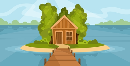House with trees on lake at noon