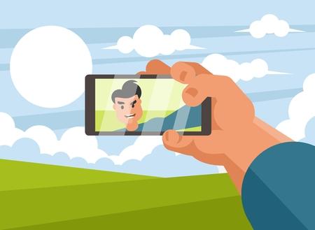 Man taking selfie photo on smart phone Illustration