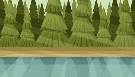 River bank on the forest background. Conifer Thicket Illustration