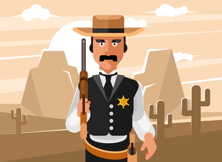 Sheriff wild west. Cowboy with winchester rifle and revolver Illustration
