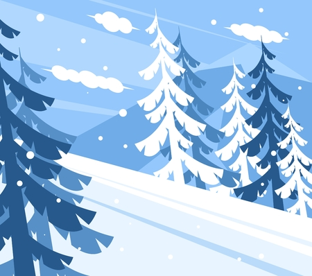Winter mountain landscape. Spruces growing in the mountains. Mountain for skiers and snowboarders Illustration