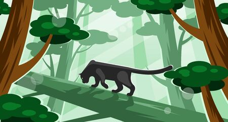 Black panther walking on a tree Illustration