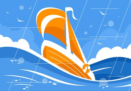 Sailboat in the sea or ocean caught in a storm Illustration