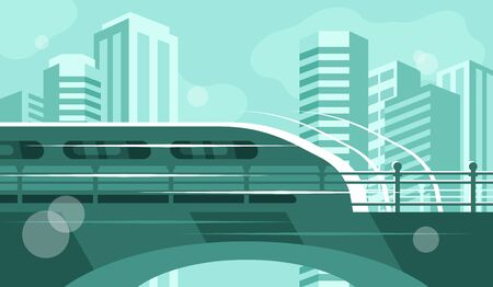 Train rides along the bridge