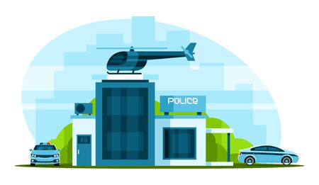Police station with helicopter Illustration