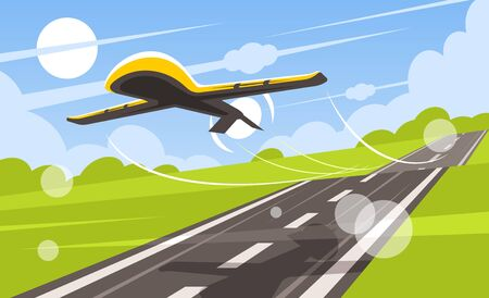 UAV takes off from the runway