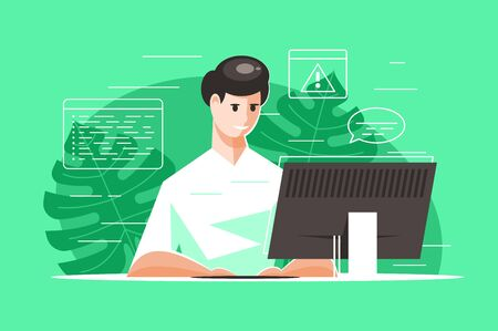 Programmer working on a project Illustration