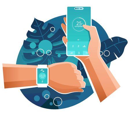 Fitness bracelet and smartphone