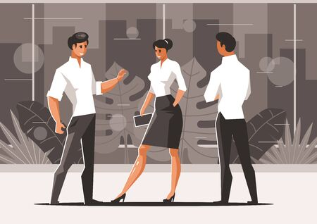 Three talking office workers