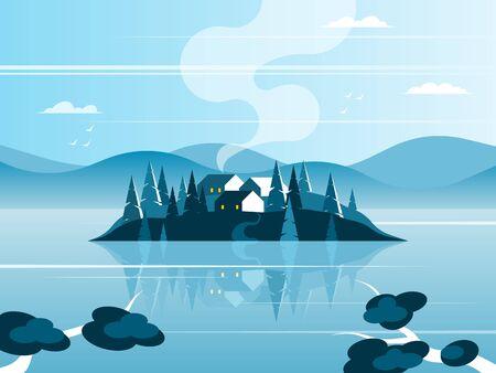 Island village on the lake Illustration