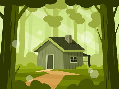 Wooden cabin in forest