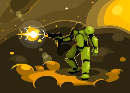 Space paratrooper with a gun Illustration