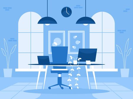Loft office interior. Designers office in the factory building Illustration