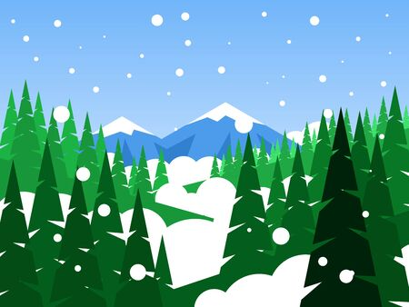Winter coniferous forest on a background of mountains. Snow falls