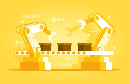 Automation production line. Industrial robotic arms with conveyor