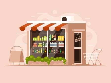 The building of a grocery store with an advertising stand and a grocery cart. Showcase with products Illustration