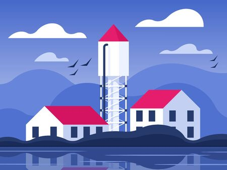 Water tower in the village Illustration