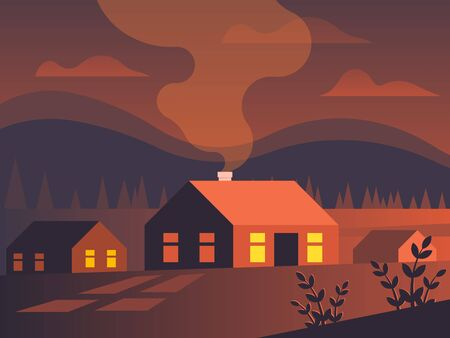 Small village in a fiery sunset