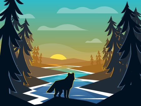 Wolf on sunrise background