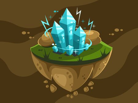 Crystals sticking out of the earth and stones around on a floating island Illustration