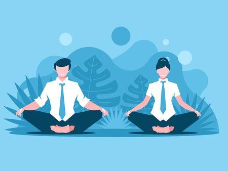 Man and woman doing joga