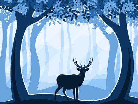 Silhouette of deer in the forest